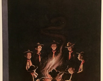 Postcard featuring a famous 'New Yorker' cover 'Scout Campfire'. BIG discount for multiple purchases!!