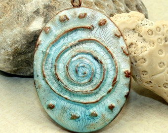 Polymer clay Handmade faux ceramic pendant, boho, chic, 50mm, large pendant, blue, brown, aged worn rustic, jewelry design, component