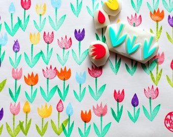 tulip garden stamps | flower rubber stamp | holland inspired card making | diy spring gift wrapping | hand carved by talktothesun | set of 4