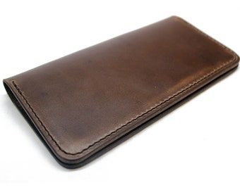 Horween leather checkbook cover, Chromexcel check book cover