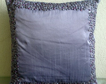 "Handmade Purple Cushion Covers, 16""x16"" Silk Pillow Covers, Square  3D Shell Sequins Bordered Pillows Cover - Purple Shells"