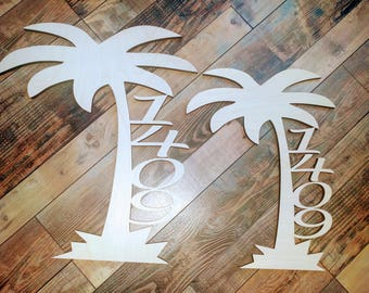 Palm Tree House Numbers / Anchor signs / Beach Themed / Ocean Address Sign / House number / Mail Box Numbers
