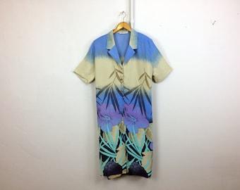 Floral Boho Festival Dress // 80's Vintage Women's Dress Summer Dress Day Dress Long Maxi Dress Women Fashion ,Size XL