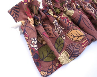 CLEARANCE - was 28 HAITI Valance Curtains Brown Yellow Red Gold Leaves  53 inches wide