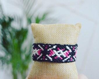 "Bohemian ""Black/white/pink"" Friendship Bracelet / colorful / cotton yarn / women / handmade / gift / Bohemian Style"