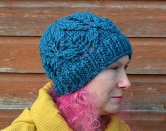 Womens Super Chunky Petrol Knitted Beanie Hat, 24 Colours
