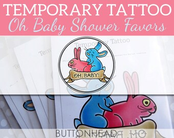 Oh Baby Baby Shower Favors - Funny Baby Shower Games - Temporary Tattoos - Set of 6