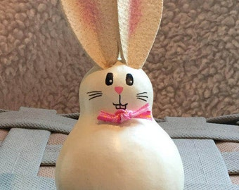 Easter Bunny Gourd, Spring Rabbit, Pink Bow