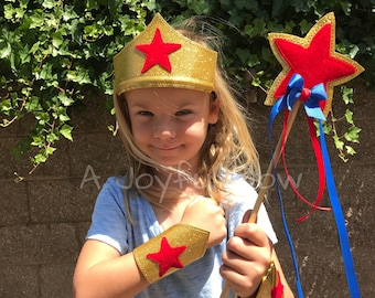 Girl superhero costume dress up and play set for kids and adults, Wonder Woman, super heroes, super hero party, Wonder Woman party,