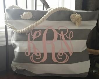 Monogrammed Beach Bag, Bridal Gift, Monogrammed Tote, Beach Bag Personalized, Bridal Party, Beach Bag, Beach Tote, Bridesmaid Gift
