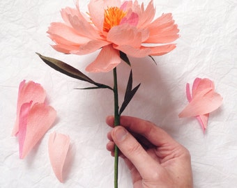 Single Stem Open Paper Peony- Paper Flowers- Paper Anniversary- 1st Anniversary- Paper Flower- Paper Decor- Crepe Paper Flowers