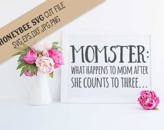 Momster svg eps dxf jpg png cut file for Silhouette and Cricut type machines