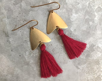 Wine Red Tassel Earrings, Red and Gold, Natural Brass Tassel Earrings, Arrowhead, Arrow Earrings