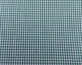1 1/2 Yards of Vintage Green and White Gingham Check Cotton Blend Fabric