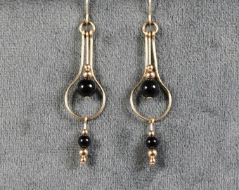 Gold-filled Black Onyx  Real Teardrop Earrings