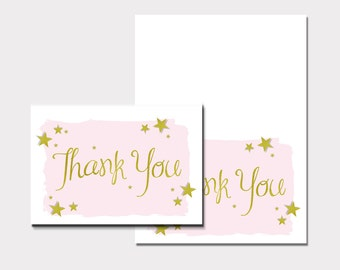Twinkle Twinkle Little Star 'Thank You' Cards-Pink