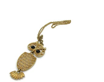 Sarah Coventry Gold Tone Necklace Owl Open Work Mod Halloween 24 Inches Long Vintage Designer Signed Costume Jewelry Pendant