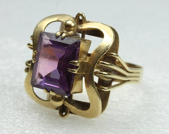 Vintage Edwardian Style 9ct Yellow Gold Amethyst Ring Size: S 1/2-9 3/8