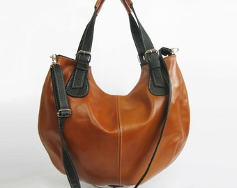 Leather HOBO Bag, Leather Shoulder Bag, Cross Body Handbag, Large Hobo, Leather Purse, Everyday Shopper Bag, Leather Bag, Gift, Camel Hobo