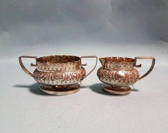Sterling Silver Creamer and Sugar Bowl Set John Gilbert Birmingham circa 1920