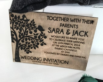 Wooden Engraved Tree and Love Bird Wedding Invitation