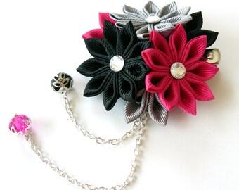 Kanzashi fabric flower hair clip. Black, grey and fushia.