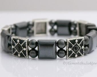 Magnetic Therapy Bracelet, Magnetic Hematite Bracelet with Black Swarovski Crystals