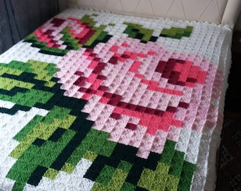 Granny Square crocheted blanket, hygge blanket, handmade afghan blanket for double bed or King size bed throw blanket