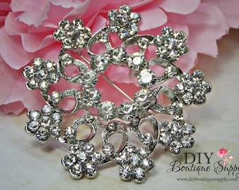 Wedding Rhinestone Brooch Pin - Silver Crystal Brooch Pin Bridal Accessories - Crystal Brooch Bouquet - Bridal Brooch Sash Pin 52mm 904198