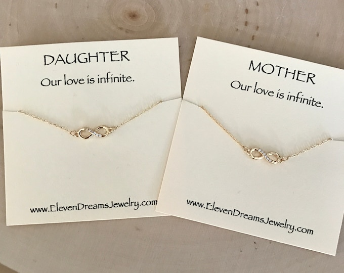 Featured listing image: MOTHER / DAUGHTER Gold Infinity Necklace Set