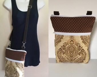 Sale***Damask, adjustable Crossbody/sling/hobo/shoulder bag