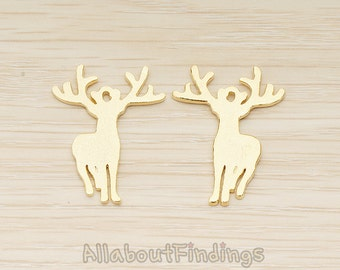 PDT1535-G // Glossy Gold Plated Deer Antler Stag Silhouette Pendant, 1 Pc