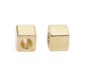 Set of 10 small beads CUBES 3 x 3 mm brass