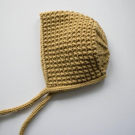 Inga Bonnet in Mustard Merino/Silk/Cashmere Wool - Sizes newborn to Age 24 months - Pre-Order