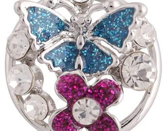 Blue Butterfly Pink Flower Snap It  SKC8820   Chunk Snap Popper Button interchangeable 18mm 20mm snap