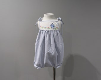 Vintage Romper Sunsuit Baby Girls Size 0 6 Months Blue White Floral Embroidery