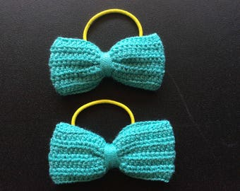 Set of 2 Crochet lace bow. Crochet lace ponytail elastic