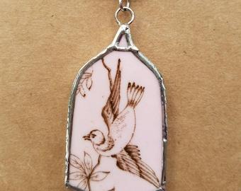 Broken China Jewelry,  broken china necklace, bird, bird cage, soldered, handmade, ooak, gift for her, gift for mom, grandma, gramdmother