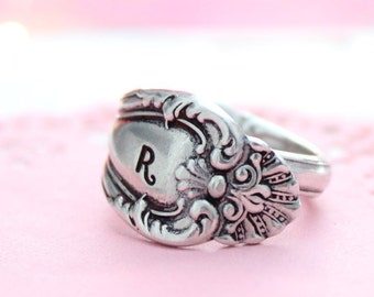 spoon ring, personalized spoon ring, spoon jewelry, floral jewelry, floral ring, custom ring, adjustable ring, boho ring, boho jewelry