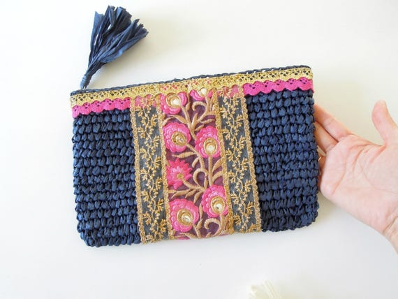 Navy blue evening bag  Blue Bollywood style clutch bag  Boho clutch bag  Holliday fab straw bag  Hand decorated gipsy straw clutch bag