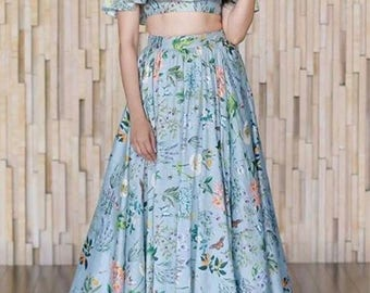 Blue printed silk crop top and skirt