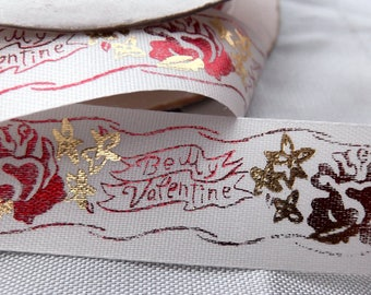 1 Yard (approximately)Vintage Satin and Metallic Ribbon - Be My Valentine (18 Repeats of the Design))