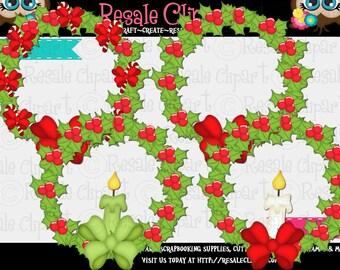 Christmas Decor Wreathes 1 Clipart (Digital Zip Download)