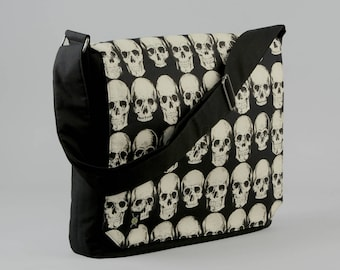 READY TO SHIP Skulls Large Black Canvas Messenger Bag, 13 - 15 Inch Laptop, Realistic Skulls, Tablet Phone Zipper Pockets, Ready To Ship