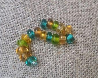 Handmade Glass Lampwork Beads  - 17 Glass Beads green yellow beads
