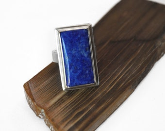 Lapis Rectangle and Sterling Silver Ring.
