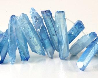 Titanium Quartz Beads, Metallic Blue, Crystal Points, Stick Beads, Topped Drilled, Mixed Size, 25mm to 38mm, Loose Gems Pink Metallic KJ