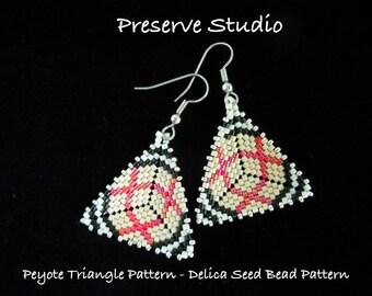 Plaid To Me  Pattern Peyote Triangle Delica Seed Bead Pattern, Peyote Earring Pattern, DIY Earrings, Peyote Stitch, Triangle Earrings