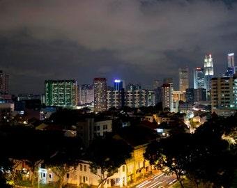 Singapore night photo, cityscape, Lights, street photography, Urban, Modern, Wall decor, Architecture, Business District, Christmas