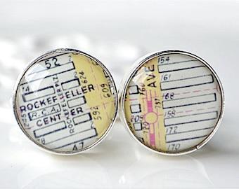 Rockefeller Center map cufflinks, timeless mens jewelry keepsake gift, classic cuff link accessories
